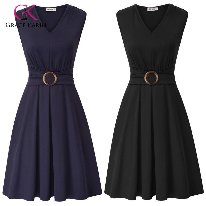 Grace Karin 2020 Dresses Summer Belt Sleeveless V Neck Pleated Dress Retro Party Dress Elegant Office Dresses Ladies Plus Size