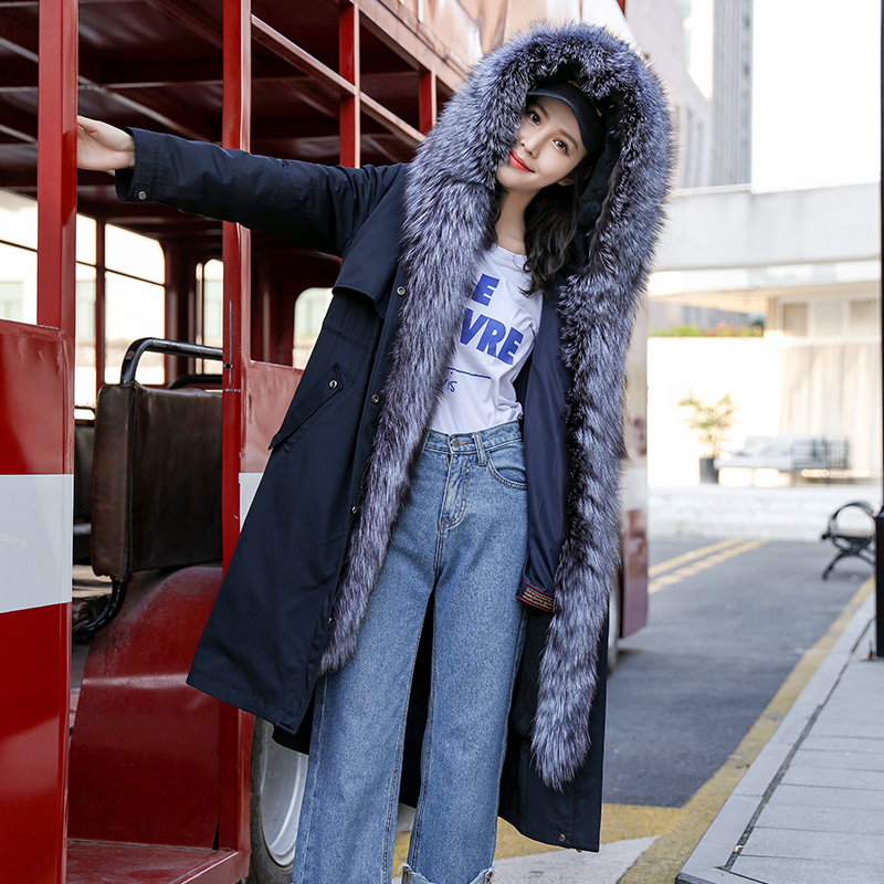 Parka Fur Real 2020 Winter Jacket Women Natural Rabbit Fur Liner Long Trench Coat Female Fox Fur Collar Overcoat MY3546