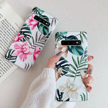 FAYDAI Flower Leaf Case Stand Holder Cover For Samsung Galaxy S8 S10 S9 Plus S10e A40 A50 A70 Soft TPU Silicone Phone Capa