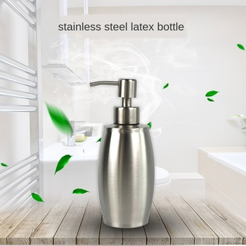 Rugby Type 304 Stainless Steel Soap Dispenser Oval Drum Shape Hand Sanitizer Bottle 350ml