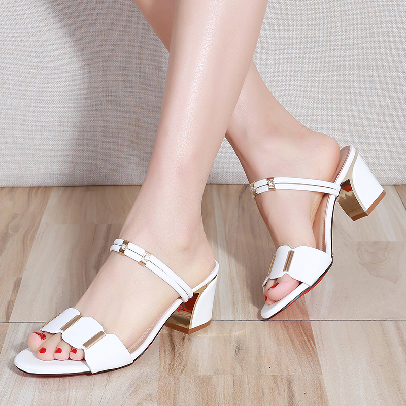 Women Slippers 2019 Summer Shoes Woman Sandals Silver Wedding Shoes Bling Slides Square Heeled Slipper Gold Sandalias Mujer 7247