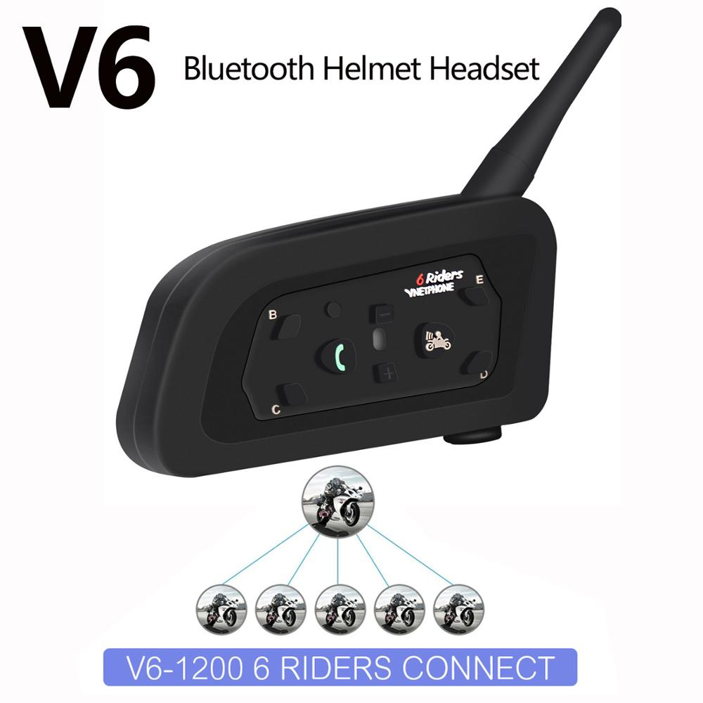 HD Quality Motorcycle Intercom Team Speaker Helmet Bluetooth Headset Waterproof Intercommunicador Moto For 6 Riders Interphone