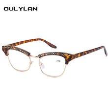 Oulylan-gafas de lectura de ojos de gato para mujer, lentes de resina a la moda con diamantes de imitación, decoración para presbicia