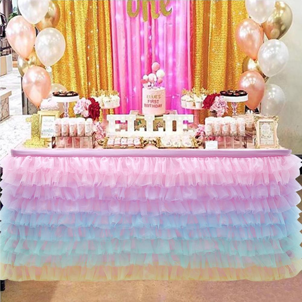 Irregular Table Skirt Birthday Party Tutu Folds Wavy Table Skirts Baby Shower Favors Banquet Wedding Xmas Decor Home Textile