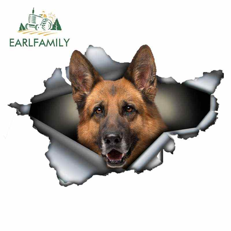 Earlfamily 13 Cm X 8.6 Cm Duitse Herder Auto Sticker Gescheurd Metalen Decal Reflecterende Stickers Venster Auto Bumper Decoratie Huisdier decal
