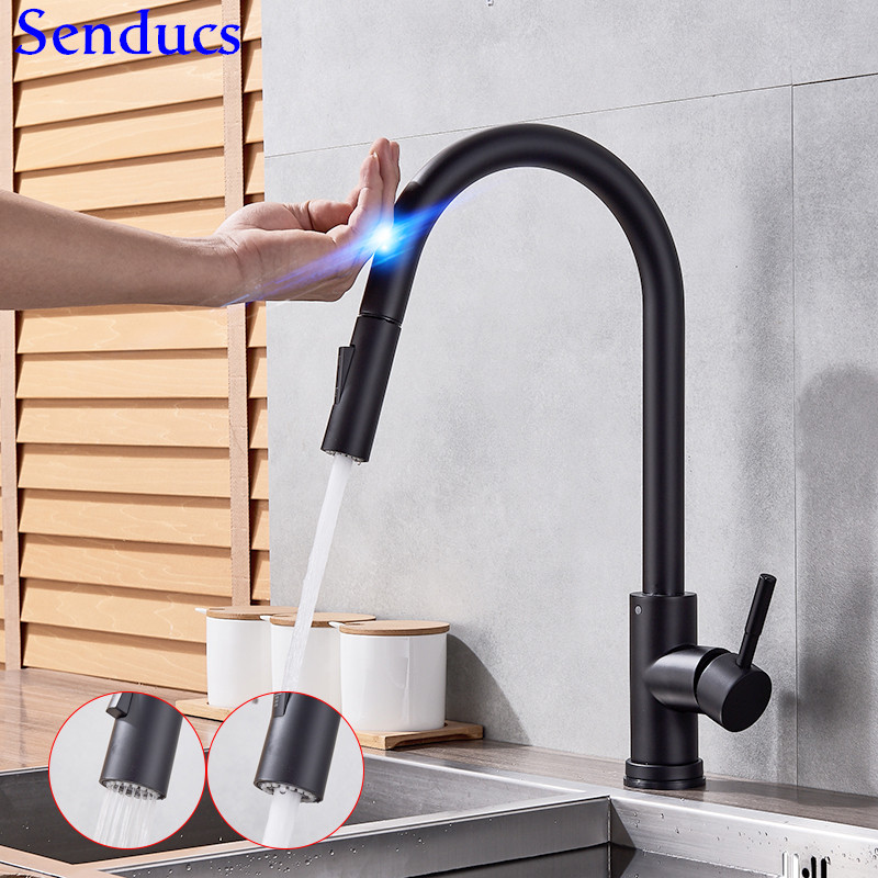 Touch Kitchen Faucet Senducs Black Pull Down Kitchen Sink Faucet Black Bronze Touch Bathroom Basin Faucet Hot Cold Water Tap