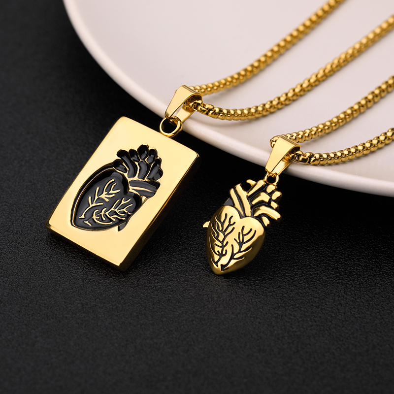 Puzzle Jewelry Couple Collares Anatomical Heart Necklace Women Valentine Day Gift Stainless Steel Chain Pendant Collares 19 11