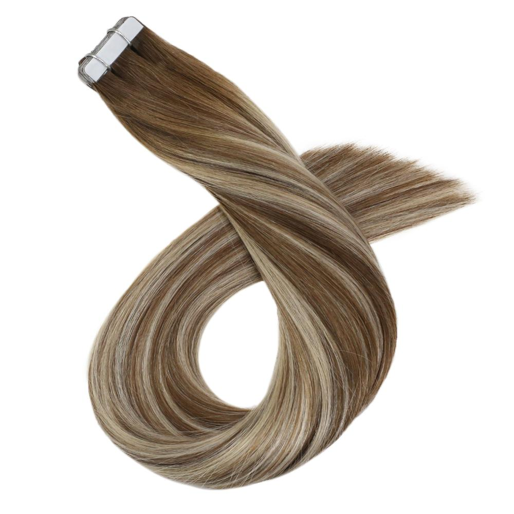 Balayage Tape In Hair Extensions Real Human Hair Straight 12-24inch 20P/40P Machine Remy Double Sided Adhesive Tape Ins
