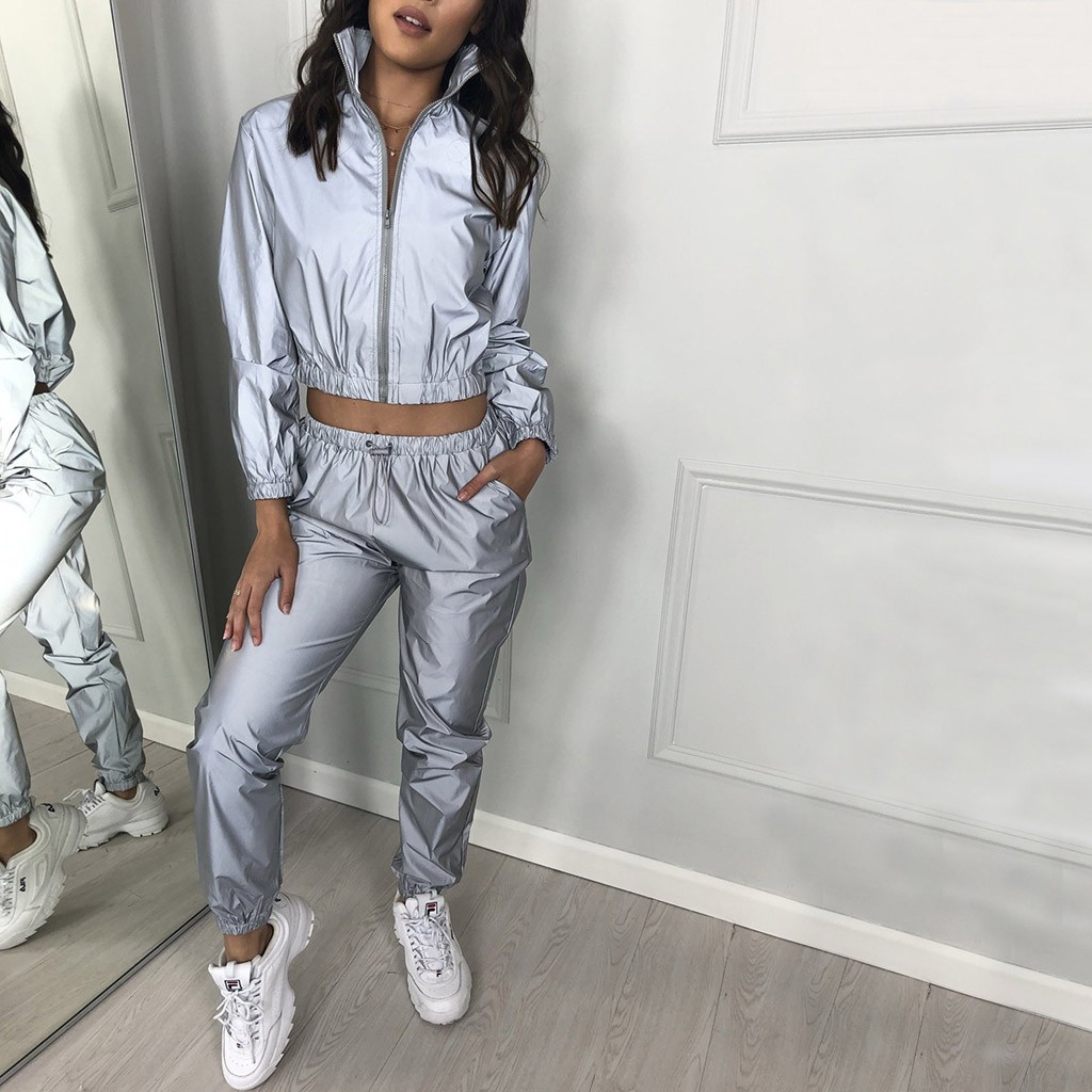 Fashion Zipper Sweatshirt Pant Reflective Two Piece Set Women Long Sleeve Tracksuit Women Blouse Conjunto De Mujer Jogging Femme