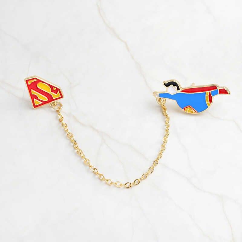 America del Supereroe pin spille Catena per le donne degli uomini di Salvare il universo Risvolto dello smalto pin badge Camicia gli amanti del Cinema sacchetto dei monili del sacchetto regalo