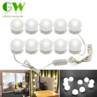 Makeup Mirror Vanity LED Bulb Kit USB Charging 4/10 Bulbs Cosmetic Mirror Light with Switch Brightness Adjustable Makeup Lights
