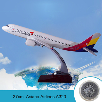 Prenoy 37cm Asiana Airlines Resin Aircraft Model A320 Airbus Airplane Model Airways International Aviation Stand Craft Model Toy