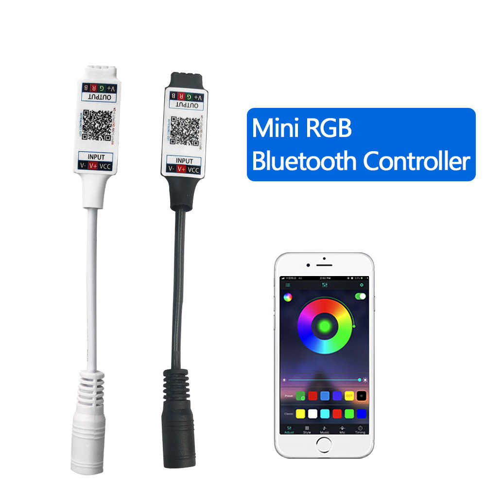 Mini RGB kontroler Bluetooth DC 5V 12V 24V muzyka Bluetooth kontroler led listwa oświetleniowa kontroler do listwy RGB led