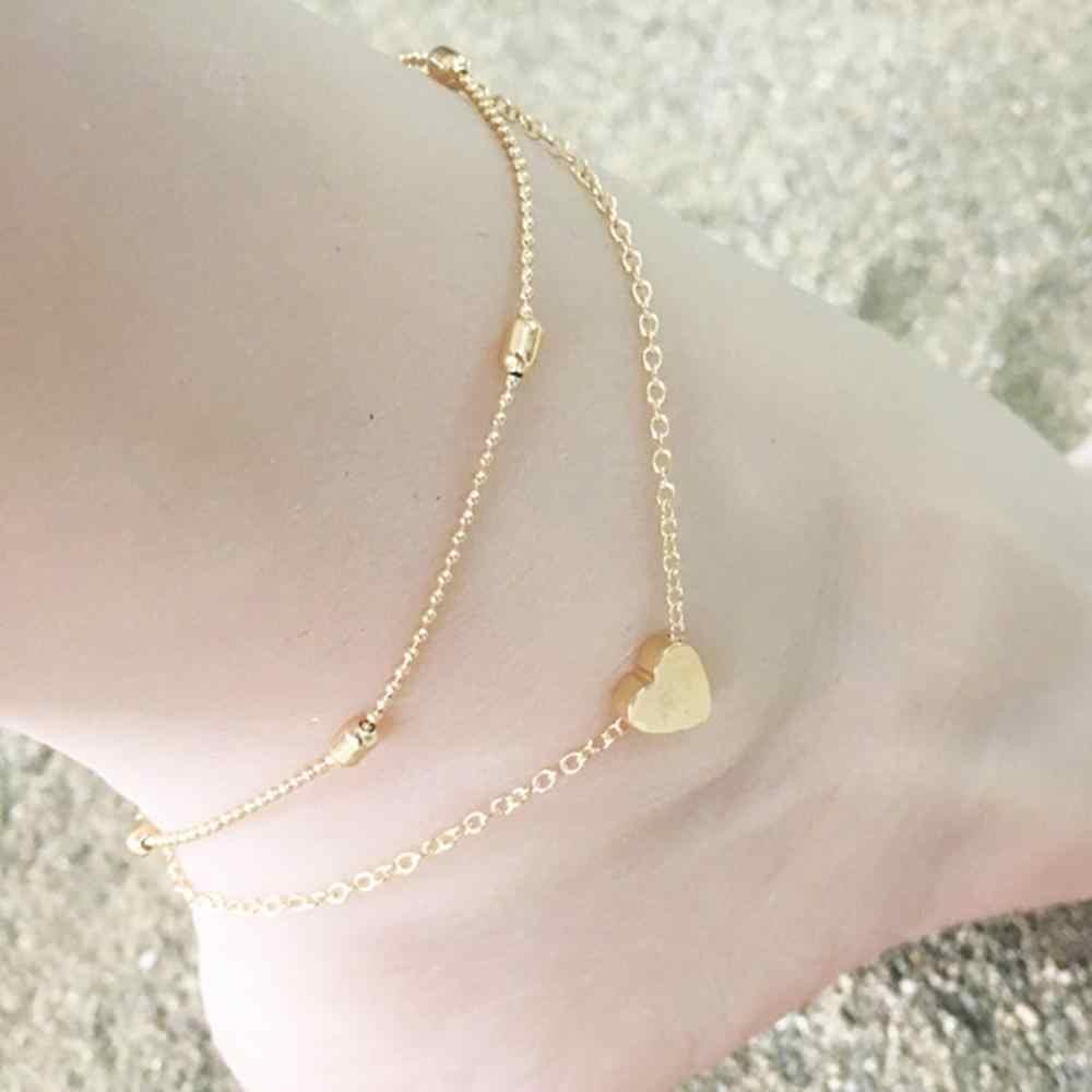 ใหม่ชายหาด Anklet ยุโรปและอเมริกาแฟชั่นผู้หญิงเพชรสร้อยข้อเท้าอัญมณีพีชรูปหัวใจผู้หญิง Handmade CHAIN