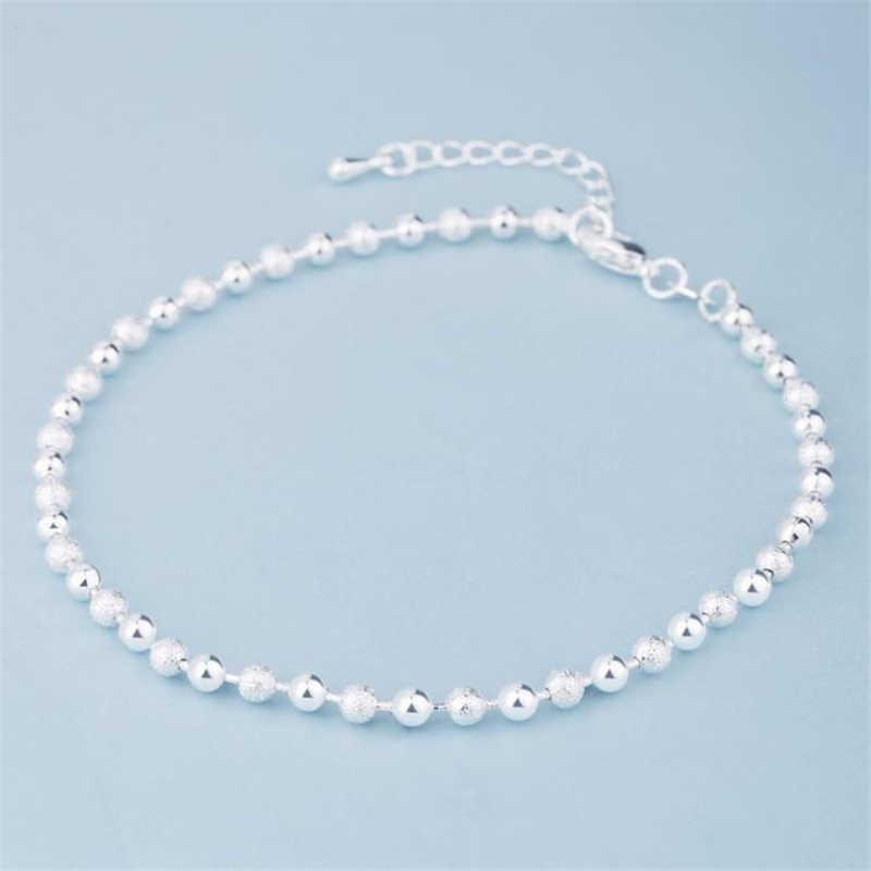 2019 oryginalna moda lato Trendy 925 Sterling Silver Chain Anklets kobiety impreza na plaży koraliki bransoletka na kostkę biżuteria na stopy dziewczyna