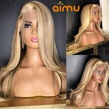 HD прозрачный 13X6 человеческие волосы полные парики фронта шнурка бесклеевой блонд, волнистые синтетические волосы на кружеве парик предвар...