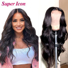 Wigs Lace Closure Human-Hair Supericon Natural Body-Wave 30inch Women Brazilian for Smooth