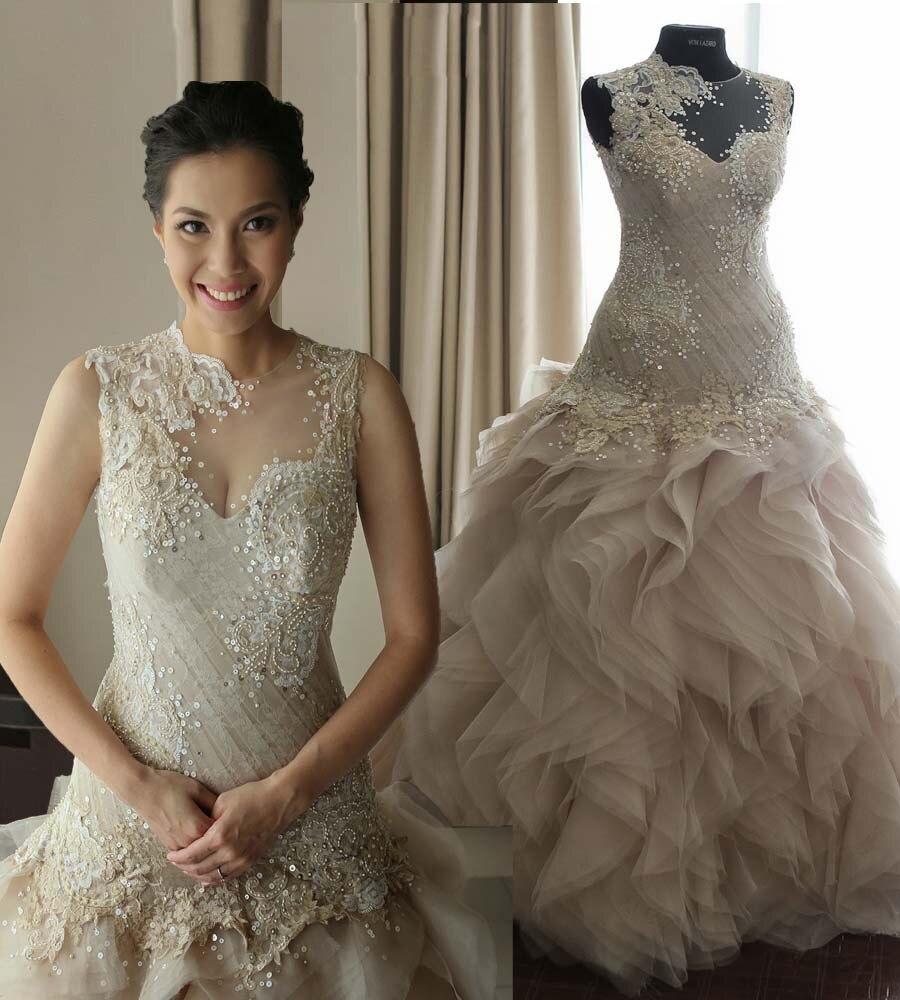 Real Sample Romantic A-Line See Through Scoop Beading Long Ivory Ruffles Sexy Lace Wedding Dress 2016 Vestido De Casamento