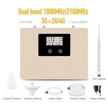 새로운 도착! LCD 디스플레이 2g 3g 4g 모바일 신호 부스터 듀얼 밴드 1800/2100mhz 셀룰러 신호 핸드폰 리피터 앰프 키트