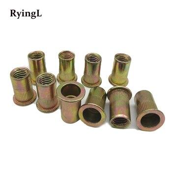 цена на 100pcs  M10 M12 Zinc Plated Carbon Steel Knurled Nuts Rivnut Flat Head Threaded Rivet Insert Nutsert Cap Rivet Nut