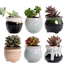 Maceta creativa de cerámica para plantas suculentas, esmaltes de flujo Variable para el hogar, la Oficina, plantas sin planta, 6 uds.