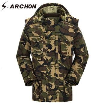 S.ARCHON Winter Military Hooded Jacket Men Fleece Camo Warm Tactical Jacket Coat Multicam Thicken Windproof Army Windbreaker Men
