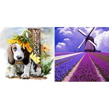 DIY 5D Diamond Embroidery Painting Cross Stitch Kit Flower Animal Home Decor Lavender Windmill Purple & Anmial Gog(China)