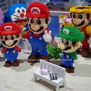 Image 2 - Balody construcción de edificios de dibujos animados para niños, minibloques, Bowser, juguetes, Mario, Yoshi, bloques de modelismo, Wario, Anime, Brinquedos, regalos, 16022