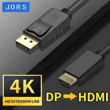 JORS DisplayPort to HDMI Cable Male to Male 4K 2K DP to HDMI Audio Video Connector Adapter Mac Laptop PC Monitor Projector Tv