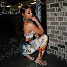 Simenual bandaż w kratkę Sexy pasujące zestawy damskie nadruk Halter topy i spodnie dwuczęściowe stroje Summer Fashion Club zestaw imprezowy
