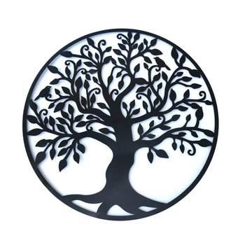3D круглые настенные подвесные украшения диаметр 60 см Дерево жизни железное искусство домашнее подвесное украшение железное дерево украшен...