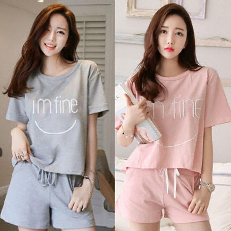 Short Sleeve Pajamas Women's Summer Korean-style GIRL'S Cute Casual Large Size Sports Homewear Set