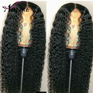 Image 4 - 150% Density Water Wave Indian Remy 13X6 Lace Front Human Hair Wigs With Baby Hair Bleached Knots Pre Plucked For Black Woman