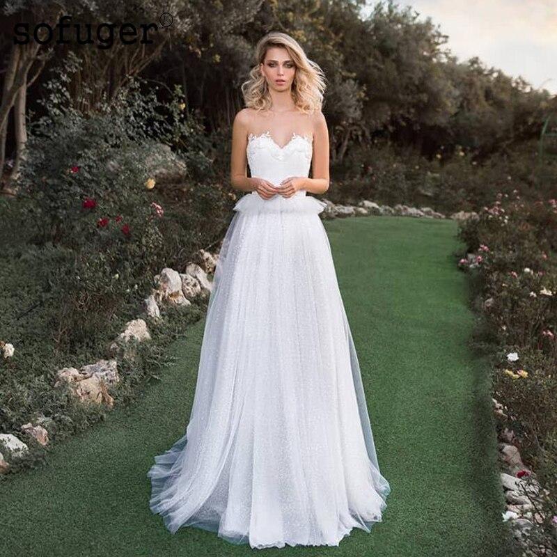 Aline ivoire blanc mariage DressTulle réservoir Scoop Robe De Mariee Sofuge dubaï arabe Abiti Da Sposa