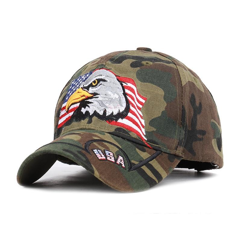 American Flag Hawk Embroidered Camouflage Usa Baseball Cap Leisure Duck Tongue Sunshade Tactical Jungle