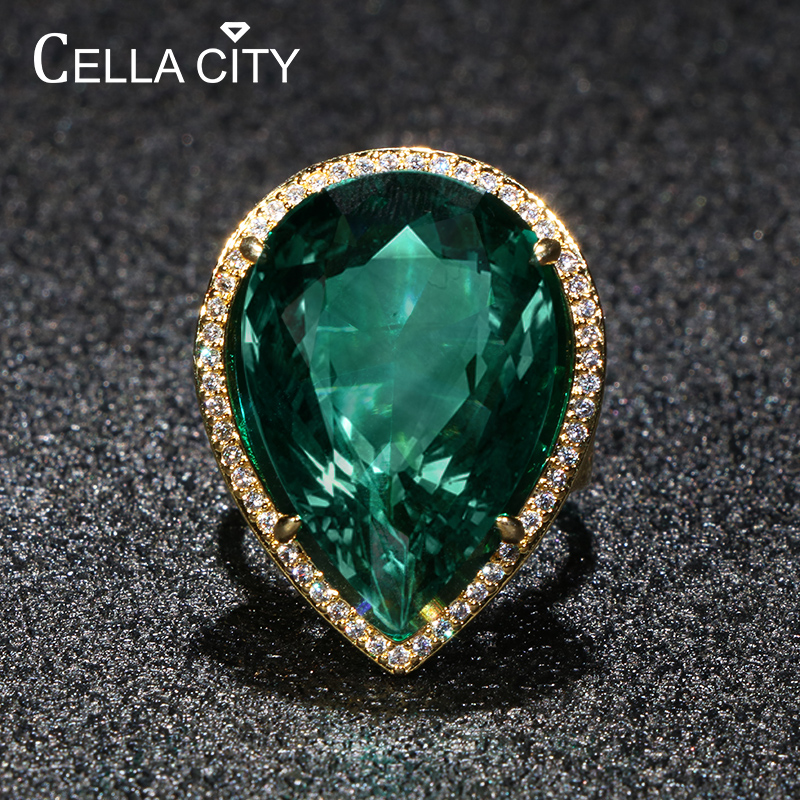 Cellacity Luxury Design Silver 925 Jewelry Gemstones Ring For Women Large Water Drop Shaped Emerald Party Banquet Female Gift