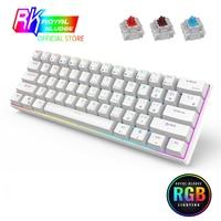 RK61 Mechanische Tastatur TKL 61 Tasten Drahtlose Bluetooth 2,4 Ghz Drei Modus 60% RGB Büro Heißer swap tastaturen Rot Schalter