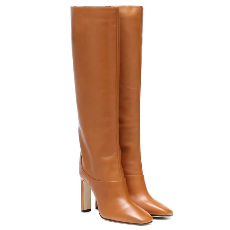Image 2 - FEDONAS Fashion Women Knee High Boots Autumn Winter Warm Party Shoes Woman Square Toe High Heeled Motorcycle Boots Long Shoes-in Knee-High Boots from Shoes