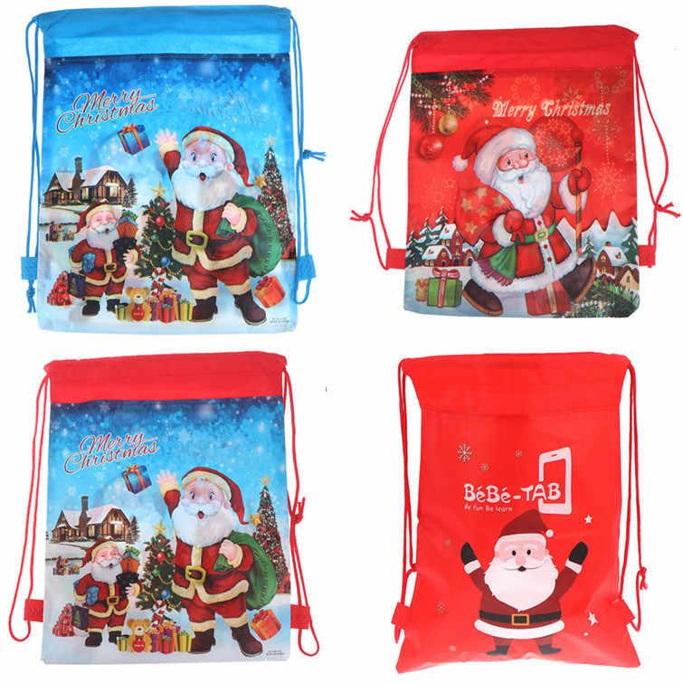 1pc torba ze sznurkiem boże narodzenie/dinozaur/jednorożec torby ze sznurkiem dzieci torby kartonowe przechowywanie cukierków opakowanie na imprezowe