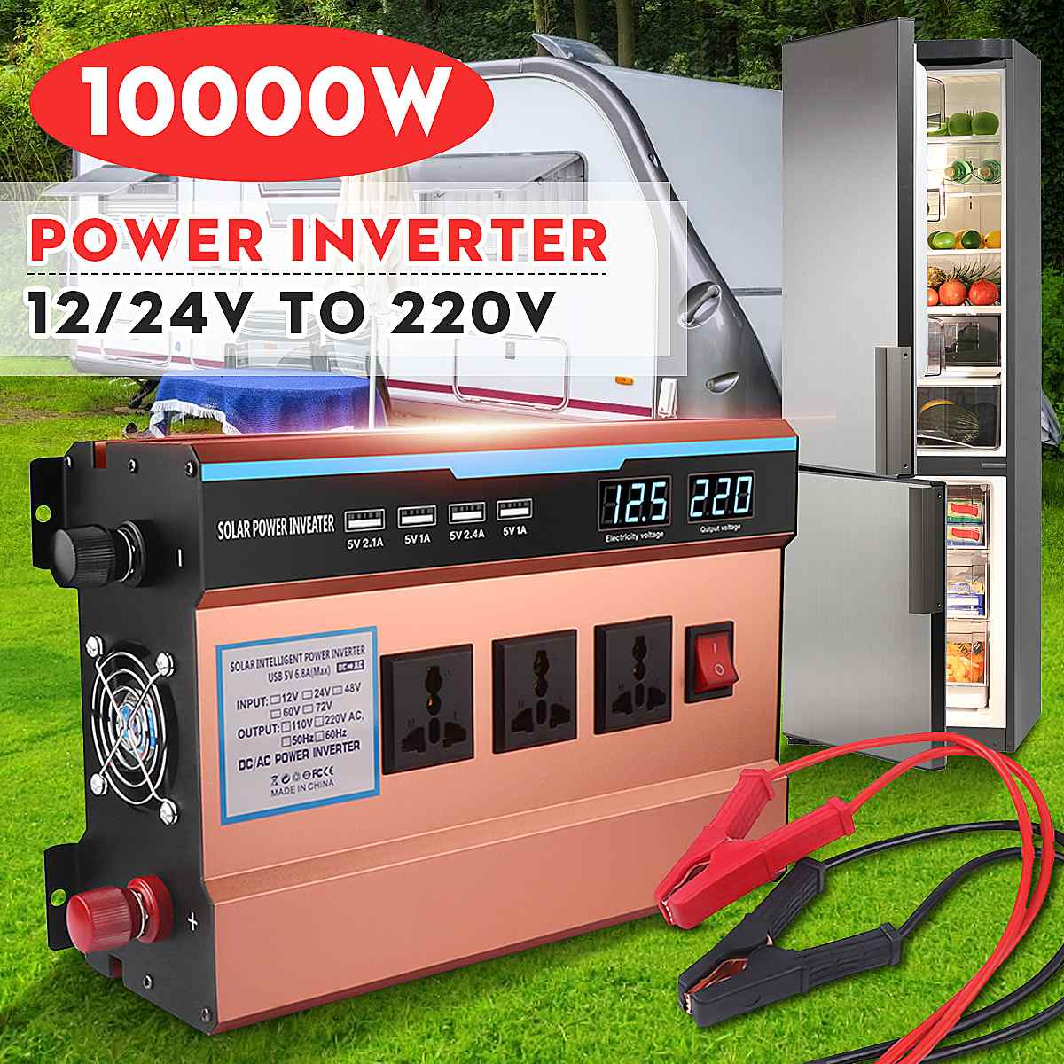 inversor solar 12v 24v para 220v 10000w casa carregador de potencia do carro inversor transformador tensao