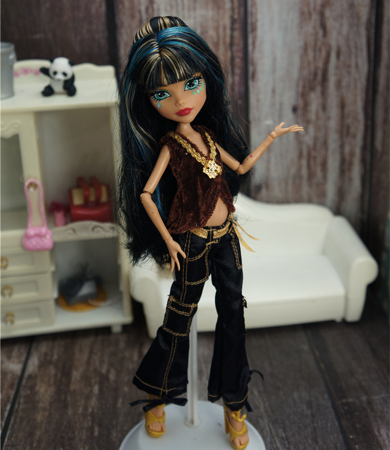 Fashion Doll Clothes for Monster High Doll Outfits Brown Top Black Bell Bottom Trousers Pants For Monster Dolls Costume DIY Toy