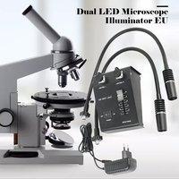 6W Dual LED Gooseneck Lights Illuminator Lamp Source For Industry Stereo Microscope Lens Camera Magnifier 110V 240V Adapter