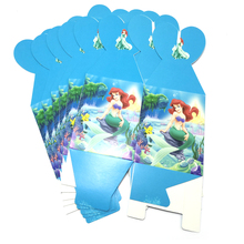 6pcs/lot Baby Shower Girls Kids Favors Mermaid Theme Candy Box Happy Birthday Party Decoration Paperboard Surprise Gifts Boxes