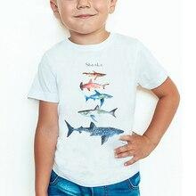 Летняя модная футболка с принтом акулы, Детская летняя хлопковая Футболка в стиле Харадзюку с короткими рукавами и круглым вырезом для мале...