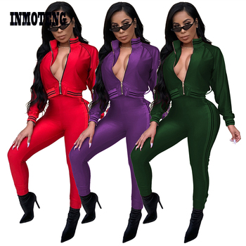 Plus Size 2 Two Piece Set Tracksuit Women Red/Purple Front Zip Long Sleeve Top Long Skinny Pants Striped Jumpsuit Outfits striped print o ring zip front tee