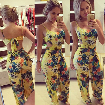 Boho Floral Jumpsuit for Women 2020 New Sexy Off Shoulder Romper Summer Casual Sleeveless Playsuit Female Clothes
