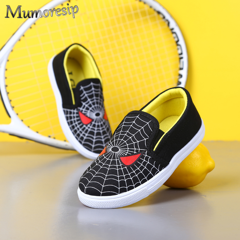 Mumoresip Black Spiderman Kids Shoes Boys Shoes Children Casual Flat Loafers Customized Made High Quality Soft Anti-slip 20-31