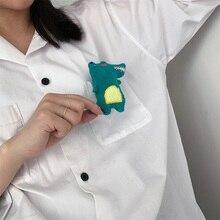 Cute cartoon figure cute green crocodile brooch color plush pin badge clothing pack backpack cap
