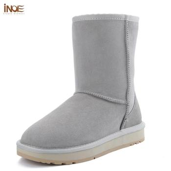 INOE Women Real Sheepskin Suede Leather Mid-calf Winter Boots Sheep Shearling Fur Lined Classic Snow Boots Light Grey