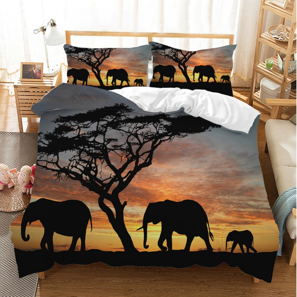 Elephant Family Duvet Cover 2/3PCS Africa Grass Sunset Animal Bedding Set Bedclothes Pillowcase Double Queen King Size Bed Set